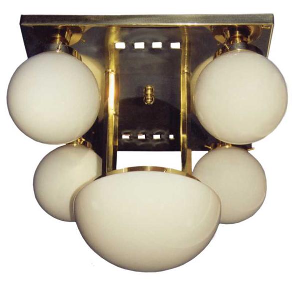 Jugendstil Deckenlampe mit Glaskugeln D-33