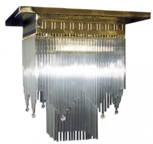 Jugendstil Deckenlampe mit Glasstäbchen D-04